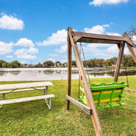 swing overlooking lake